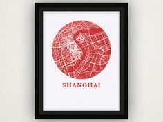 Shanghai Map Print  City Map Poster by OMaps on Etsy