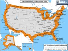 ACLU map of U.S. border, which stretches 100 miles in from any land or water boundary