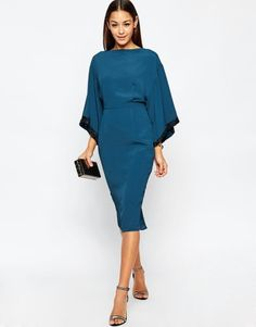 ASOS Embellished Trim Kimono Midi Dress at asos.com