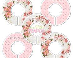 Diviseurs de placard Floral rose fleurs par SweetPeaPetiteShop
