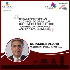 Mr. Getamber Anand, President, #CREDAI speaks about #RERA at the 16th #NATCON happening at Shanghai.  #SaheelProperties #Pune