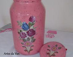 Vidro decorado rosa vintage