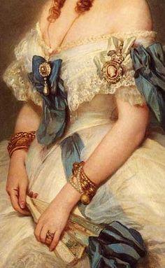 Queen Alexandra when Princess of Wales, 1864. (detail)   Franz Xaver Winterhalter (1805–1873)  Image via the Royal Collection, UK.