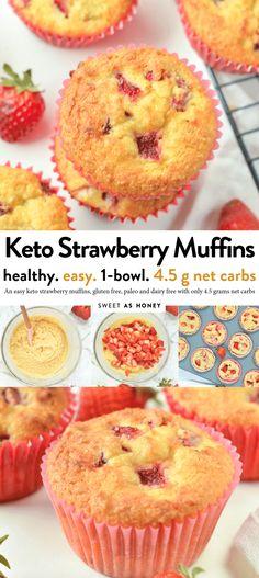 KETO STRAWBERRY MUFFINS g net carbs, gluten free, paleo recipes dairy free Keto Strawberry muffins - gluten free + dairy free - Sweetashoney Strawberry Muffins Healthy, Fresh Strawberry Recipes, Strawberry Bread, Healthy Muffins, Muffins Sans Gluten, Sugar Free Muffins, Lemon Muffins, Keto Cookies, Chip Cookies