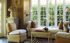 Narrow paned windows.