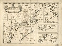 """Originally produced in 1700 by cartographer Sutton Nicholls and """"A New Map of the Most Considerable Plantations of the English in America"""" shows the English plantations in North America on a single sheet that encompasses five inset maps of Nova Scotia, Jamaica, Bermuda, Barbados, and the Carolinas. English mathematician and geographer professor at Oxford, England, published the map in the atlas titled """"New Set of Maps both of Ancient and present Geography"""" in 1700. Vintage Maps, Vintage Wall Art, British North America, Samuel De Champlain, Port Royal, British Colonial, Historical Maps, English, History"""
