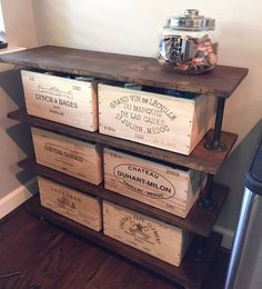 Four Shelf Rolling Cart, Rustic Wood and Pipe Shelving Unit, Kitchen Open Shelves, Restoration Hardware Inspired Store Fixture