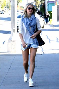 Julianne Hough wearing Hermes Double Sens Shopping Tote Bag and Stella McCartney Elyse Cutout Platform Shoes