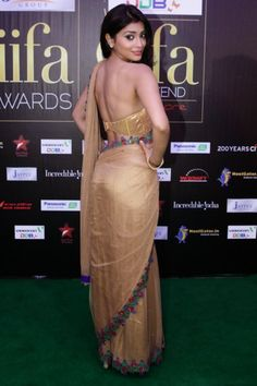 Bollywood Actresses Pictures Photos Images: Tamil Movie Actress Shriya Saran Bare Back Backless in Saree and Blouse