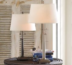 Pottery Barn Adjustable Column Table  Lamp