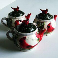 Yankee Candle Votive Holders Christmas Cardinal Holly Tea Pot Qty 3 #YankeeCandle