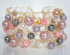 Gold Bracelet Cuff Arm Cuff Statement Jewelry Wire Hand by imwyred