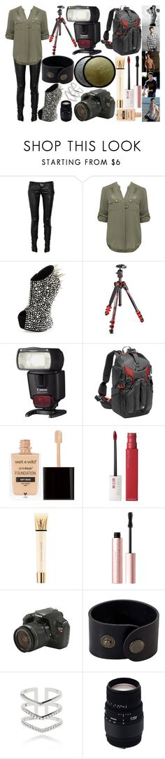 """""""photoshoot w/ taylor lautner"""" by silent-killer ❤ liked on Polyvore featuring Balmain, Forever New, Giuseppe Zanotti, Manfrotto, Maybelline, Yves Saint Laurent, Too Faced Cosmetics, Eos, Astrid & Miyu and Sigma"""