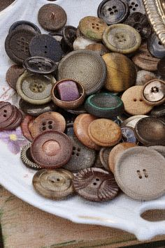 Vintage  Every home had a button tin, never thrown out.