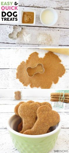 Do you have a dog? Does your dog love treats? I'm pretty sure I know the answer to that question. I'm Kelly Dixon from Smart School House and I'm here to share a super easy and quick recipe for DIY dog treats. They are so fun to make that my kids did all Puppy Treats, Diy Dog Treats, Homemade Dog Treats, Dog Treat Recipes, Dog Food Recipes, Homemade Dog Biscuits, Quick Recipes, Homemade Dog House, Horse Treats