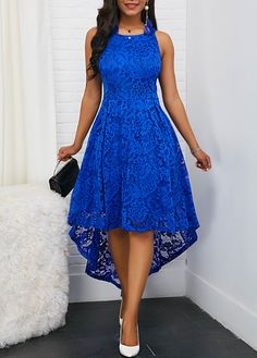 Color : Royal Blue Style : Elegant Pattern Type : Solid Neckline : Round neck The post Sleeveless Royal Blue Round Neck High Low Lace Dress appeared first on Power Day Sale. Black Party Dresses, Trendy Dresses, Women's Fashion Dresses, Sexy Dresses, Dress Outfits, Prom Dresses, Dress Party, Royal Blue Dresses, Woman Dresses