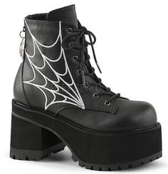 """Demonia Ranger 105 4""""(10cm) Block Heel, 2 1/2"""" (6cm) Platform Lace-Up Front Ankle Boot w/ Spider Web Charm at the Back & Spider Web Embroidery Detail, Inner Side Zipper"""