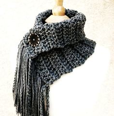Inspiration. GRAY SKIES COWL - Scarf with fringe and button