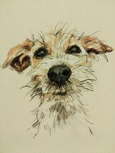 Watercolor representing a small barbet dog type fox terrier or related . - Watercolor representing a small barbet dog like fox terrier or related. It is very nice, this doggi - Black Art Painting, Painting & Drawing, Watercolor Paintings, Painting Wallpaper, Watercolours, Watercolor Water, Tattoo Watercolor, Watercolor Portraits, Animal Paintings