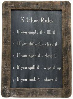 "Large Vintage-Style ""Kitchen Rules"" Reproduction Schoolhouse Chalkboard"