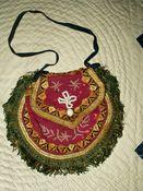 Hand Stitched Civil War Purse Victorian 1860 Bead Fringe Cloth Pouch
