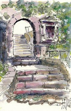 architectural watercolor
