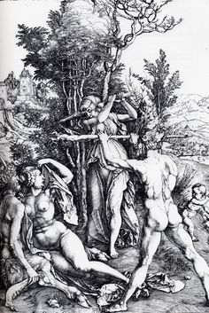 Albrecht Durer's Hercules at a Crossroad with Virtue and Pleasure at National Gallery of Canada 1471 - 1528 :  https://www.gallery.ca/en/see/collections/artwork.php?mkey=3646