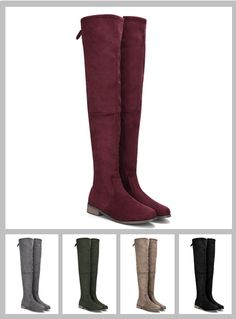Suede Lace-up Back Knee High Boots