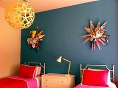 Mia Kaplan's flowering wall sculptures in a children's bedroom, designed by Colleen Waguespack of Holden & Dupuy Interiors.
