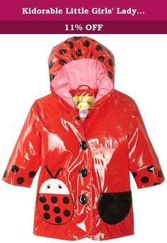 Kidorable Little Girls' Ladybug PU Raincoat, Red, 3T. Irresistible and eye-grabbing, our stylish, upscale coats are the core of a Kidorable ensemble. All styles are PU with a comfy printed nylon lining, available in sizes My First (1T, 12-18 mo.), 2T, 3T, 4T, 4/5, 5/6 and 6/6X. More than just a raincoat, these can be worn every day, all spring and fall.