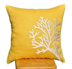 "White Coral Branch Pillow Cover -  Embroidered Throw Pillow Cover 18"" x 18"" - Yellow Linen with White Coral Branch Embroidery - KainKain"