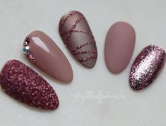 Rose Nails. Matte Nails. Rose Glitter Nails. Nails With Rhinestones. Almond Nails. Fall Nails.