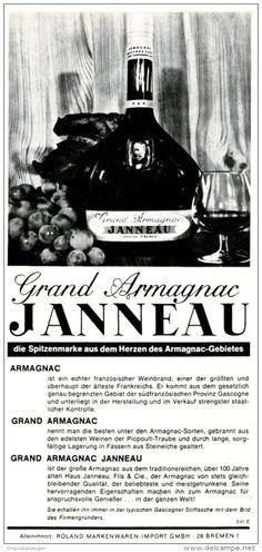 Original-Werbung/ Anzeige 1967 - GRAND ARMAGNAC JANNEAU - ca. 60 X 135 mm