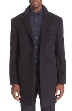 ce298aff272 John Varvatos Star USA Trim Fit Solid Wool Blend Overcoat メンズワードローブの必需品