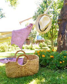 Knitting in the garden.