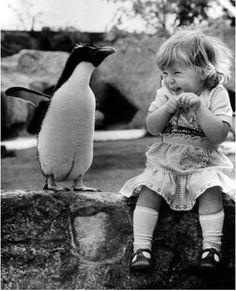 Penguin and an adorable little girl! www.invitationinabottle.com