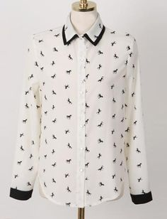 Colligate Unicorn Printed Pointed Collar Blouse, Shop online for $16.80 Cheap Blouses & Shirts code 718150 - Eastclothes.com