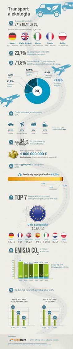Transport jest odpowiedzialny za 23,7% emisji dwutlenku węgla do atmosfery w Unii Europejskiej i stanowi drugie najważniejsze jego źródło. Głównym odpowiedzialnym za emisję w transporcie (72,8%) jest transport drogowy. Transport jest też głównym źródłem pozostałych zanieczyszczeń powietrza oraz hałasu.