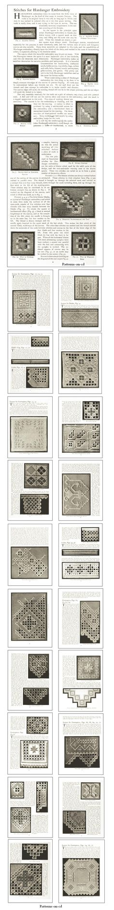 CD ROM Title:  Priscilla Hardanger, 1909     With instructions of the various hardanger embroidery stitches and lessons   for how to create designs for centerpieces, table cloths, Doily, collar and cuffs. Click on the image for more description about this CD title.