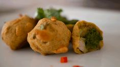 Bollypop - A delicious gluten free potato and chicken ball in a crispy chickpea batter with a chutney pop