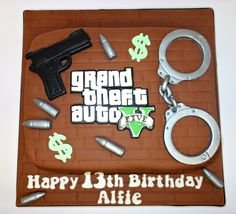 Grand theft auto themed cake. www.cakeseven.wix... Facebook- Cake7. Twitter- Cake7 email: cake.seven@aol.co.uk phone: 07731 882 988