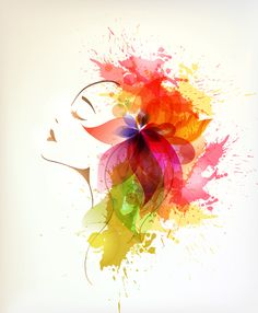 Watercolor floral woman creative design 05 free