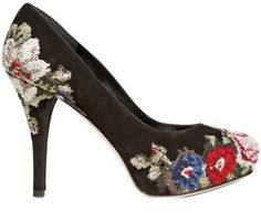 100mm Gisele Brocade Suede Pumps