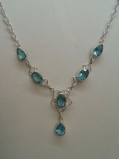 Blue Topaz and silver necklace by MDEBRJewelryDesigns on Etsy