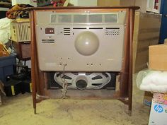 Vintage-GE-General-Electric-Coaxial-TV-Television-Danish-Modern-Mid-Century