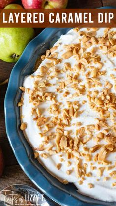 Caramel Apple Cheesecake Dip is a layered, sweet, salty and scrumptious dessert dip, packed with sliced apples and pears. It's one of the best apple recipes for apple picking season!  Once upon a time, I had a container of Marzetti's caramel dip in my fridge, plus some fresh apples and pears. Instantly, this caramel apple cheesecake dip popped into my mind.