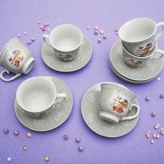 Έξι φλυτζάνια με τα πιατάκια τους για τον ελληνικό καφέ ή το εσπρέσσο, από φίνα ευρωπαϊκή πορσελάνη, με σχέδια γκρι τριαντάφυλλα . Χωρητικότητα: 80ml Tea Cups, Tableware, Dinnerware, Tablewares, Dishes, Place Settings, Cup Of Tea