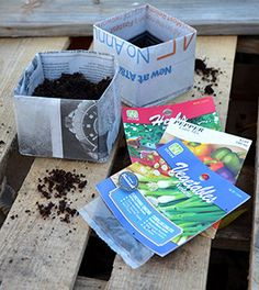 Step by step instructions: These simple newspaper seedling pots take no time at all to make and would be a great weekend project. Newspaper will decompose in the soil naturally.