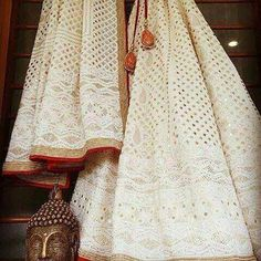 New Ideas for bridal lehenga white red desi wedding Bridal Lehenga, Lehenga Choli, Sabyasachi, Sarees, Floral Lehenga, Indian Attire, Indian Ethnic Wear, Indian Wedding Outfits, Indian Outfits