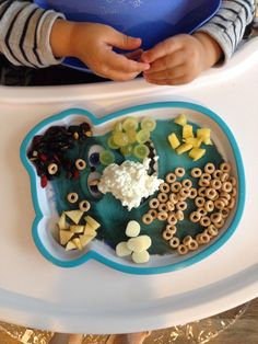 #Breakfast at #15-month-old: #organic cottage #cheese, organic #apple, #pineapple, organic #mozzarella stick, organic #wholewheat #cereal, organic #grapes, organic dried #fruit (#cranberries, #cherries, #raisins, #sunflower #seeds)